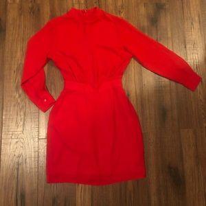 Red high neck long sleeve dress
